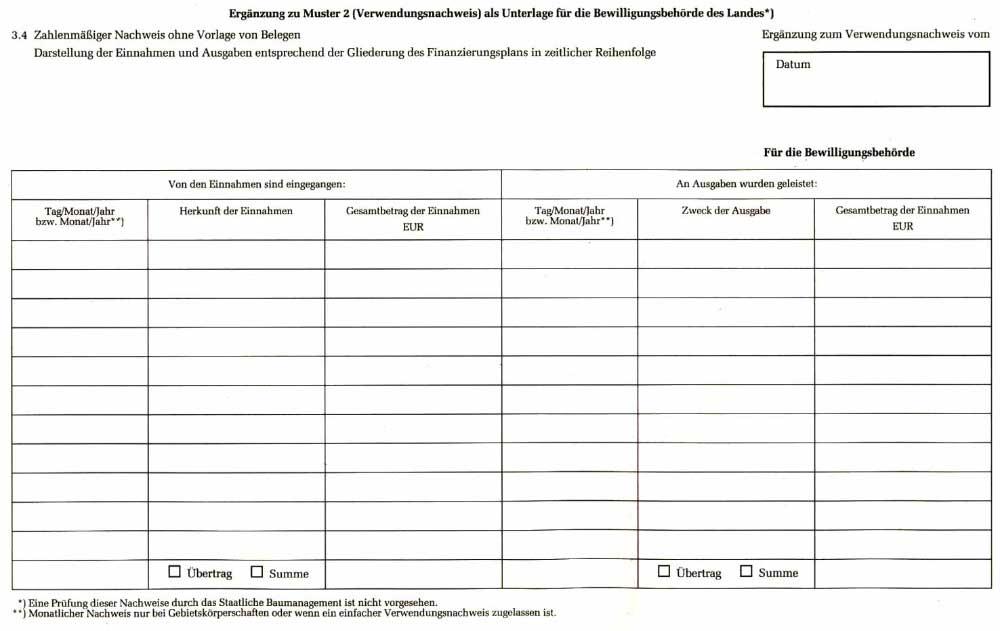 ergnzung zu muster 2 verwendungsnachweis - Bautagebuch Muster